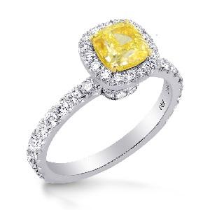 yellow diamond halo ring